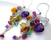 Handmade Gemstone Chandelier Earrings. Sterling Silver  Cluster Earrings.. Chain Earrings. Beadwork Earrings.
