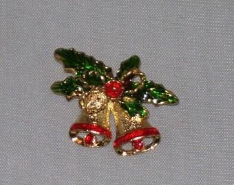 Vintage Christmas Pin Brooch Red Bells Green Leaves