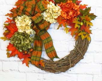 Fall Wreath, Hydrangea Wreath, Fall Hydrangea Wreath, Autumn Wreath,  Fall Decor, Thanksgiving Wreath