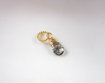 S TINY - 14k Gold Charms - Black Tourmalinated Quartz Pendant - Natural Black Tourmaline - Clear Quartz Charm - Healing Crystals and Stones