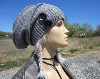 Gray Slouchy Beanie Hat Button Slouch Tam Womens Cotton Warm Winter Hats Black Wood Buttons by Vacationhouse  A1222B