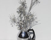 Christmas Holiday Decor Aluminum Pom Pom Starburst Arrangement Vintage Coffee Pot Mid Century Holiday Kitchen Decor Handcrafted Handmade