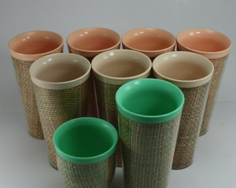 Vintage Raffiaware Burlap Insulated Tumblers Cups Melmac Melmine Thermo Temp Mid Century Retro RV Trailer Glamping Picnic Tailgating 9 Pcs