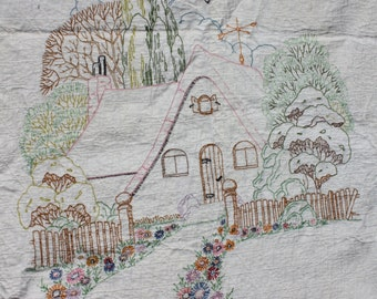 "Vintage Hand Quilted Handmade Quilt Embroidered ""Home Sweet Home"" Farmhouse Decor Shabby Cottage Chic Rustic Primitive"