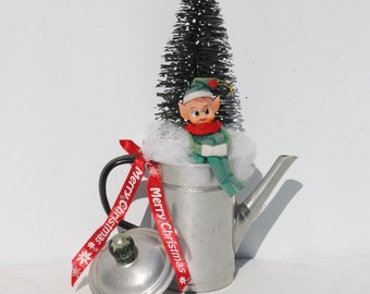 Christmas Holiday Decor Floral Arrangement Vintage Elf Pixie Knee Hugger Vintage Coffee Pot Retro Holiday Kitchen Decor Handcrafted Handmade