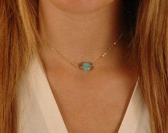 Turquoise Coin Choker Necklace, Gold, Silver, or Rose Gold, Layering Jewelry, Dainty, Delicate Gold Turquoise Choker