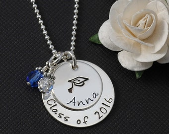 Graduation Necklace with personalized stacked discs and school colors or birthstone - Sterling Silver
