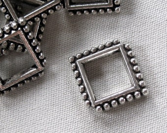 20 Antiqued Silver Alloy Metal Open Square Bead Frames, 18mm x 15mm, 3mm thick, diagonal hole. package of 20
