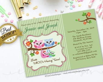 Owl baby shower invitation - Twins - Baby Shower Twins Invitation - Printable