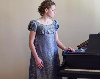Cotton Regency Gown, Reenactment, Costume, Blue/Gold, Size Misses 4