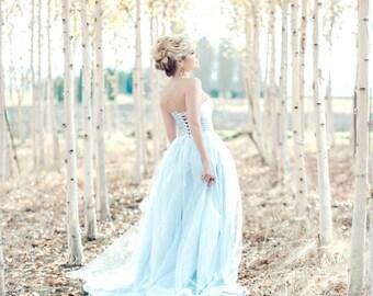 Blue Wedding Dress, Tulle Skirt,  Silk, MONET, Blush Ivory White Lavender, ANY COLOR