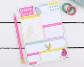 Daily Planner Notepad - Cute hand drawn woodland illustrated - To do list notepad