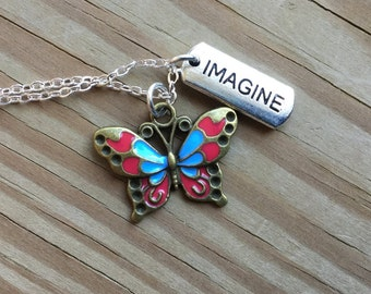 Butterfly Mixed Metals Charm Necklace- Butterfly, Imagine - with your choice of chain