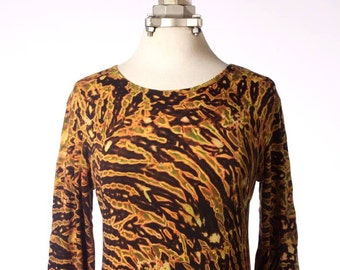 M Shibori Long Sleeve Women's Tie Dye T-Shirt Hand Dyed Brown Black Tiger2