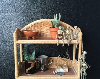 vintage woven wicker rattan wood wall shelf / wall hanging rack