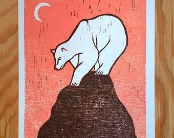 Alone on a Mountain - WOODCUT BEAR PRINT