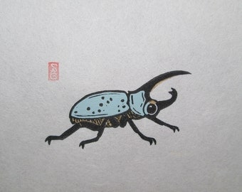 Rhinoceros Beetle - Insect Lino Block Print - Hand painted