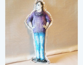 doll man Real People Robert handmade original art fabric textile soft sculpture figurative drawing OOAK