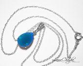 Caribbean Blue Opal Crystal Necklace Wedding Blue Sterling Silver Necklace Swarovski Rhinestone Teardrop Necklace Bridesmaid Wedding Jewelry