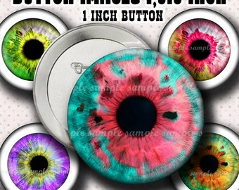INSTANT DOWNLOAD  Colorful Eyes  (777) Button Size Images 1,313 Inch ( 1 inch Button) Digital Collage Sheet for Badges Buttons  ...