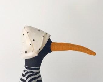 Stuffed Rag doll , black linen bird with rust orange beak, duck doll in  striped shirt, mint corduroy & dotted hat ,plush handmade eco doll