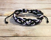 Black, White & Purple Braided Bracelet, Tricolor Bracelet, Waxed Cotton Bracelet, Black and White Bracelet, Simple Braided Bracelet