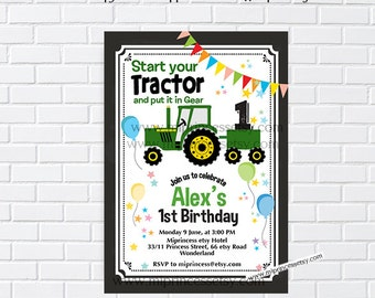 Green Tractor Invitation, birthday party invitation, boy kids dig party for any age, little boy 3rd 4th 5th 6th 7th 8th 9th 10th  - card 980