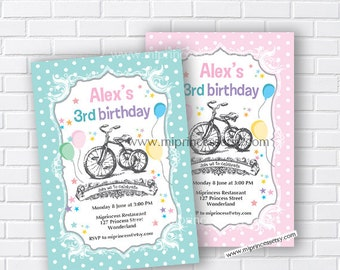 kids birthday vintage Bicycle Birthday Invitation for any age,1st 2nd 3rd 4th 5th 6th 7th 8th 9th kids birthday invitation boy - card 140