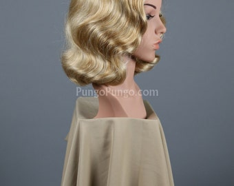 Blonde Wig / Marcel Finger Wave Curls / Vintage Retro Pinup Girl Drag Queen Curly Platinum Marilyn Monroe Gatsby Costume Cosplay Lolita