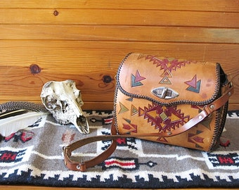 SOUTH BY SOUTHWEST Vintage 70s Purse | 1970's Southwest Hand Tooled Painted Shoulder Bag | End of the Trail Native American | Boho Hippie