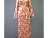 Vintage 70s Maxi Dress - Floral Velvet Dress - Velour Dress - Bell Sleeve Bohemian Dress - Rose Gold Long Floral Dress - Boho Hippie Dress