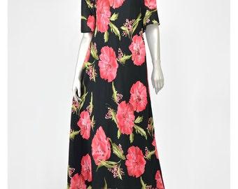 Asian Style Floral Dress 90s Dress Poppy Flower Grunge Dress Red and Black Floral Maxi Dress Mandarin Collar 1990s Dress Long Chiffon Dress