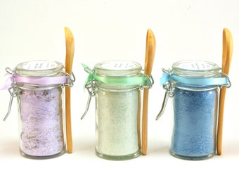Bath Salt Favor- 15 Mini Snap Top Jar with Spoons, Wedding & Spa Favor, Bath Soak, Spa Gift Set, Detox Bath Salts, Aromatherapy, Lavender