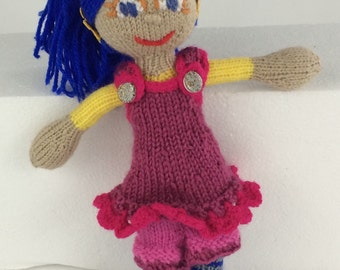 Heather: purple-haired knitted dolly