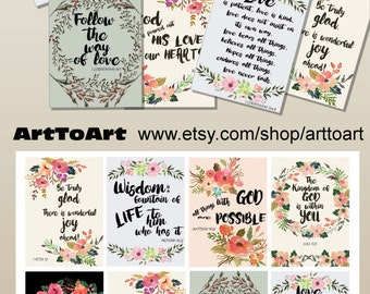 "Scripture Bible Verses TAGs Art digital collage 2.5 x 3.5"" scrapbooking greeting cards Printable download Bible quotes prayers Arttoart 550"