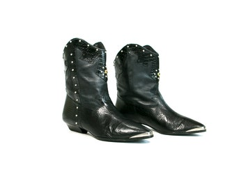 Vintage 1990's Black Leather Bedazzled Metallic Glam Western Cowboy Boots Women's Size 10 M Made in Brazil