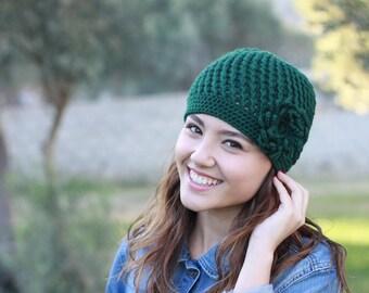 Emerald green Crochet Beanie women, Beanie hat, Women crochet beanie with flower, Beanie for women, Crochet hat for women
