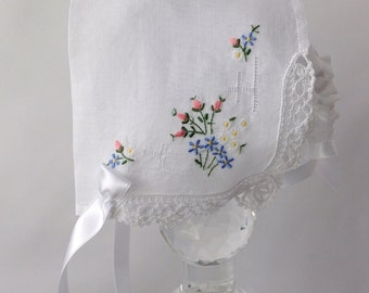 Handkerchief Bonnet, Newborn Hanky Bonnet, Handmade, Christening Bonnet, Heirloom Bonnet, Ready to Ship