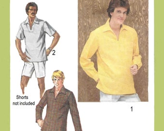 Simplicity 9093 Men's 70s Pullover Top Sewing Pattern Chest 38