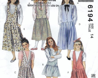 McCall's 6194 Teen Girl's and Chubbies 90s Jumper and Split-Skirt Jumper in Two Lengths Sewing Pattern Breast Bust 32 to 34.5