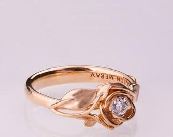 Rose Engagement Ring No.3 - 14K Rose Gold and Diamond engagement ring, engagement ring, leaf ring, flower ring, art nouveau, vintage
