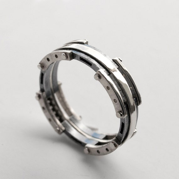 Platinum Wedding Band Mens Platinum And Oxidized Silver