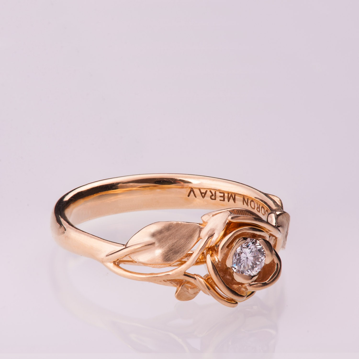 Rose Engagement Ring No 3 14K Rose Gold and Diamond