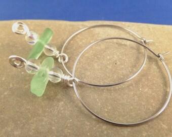 Hoop earrings with beach glass dangles, crystal, nickel free hypoallergenic