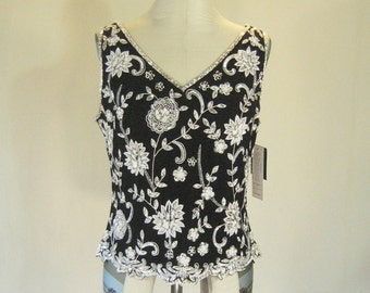 Elegant Fitted Floral Beaded Evening Top Glam