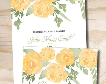 Yellow Rose Watercolor Floral Wedding Invitation and Response Card Invitation Suite