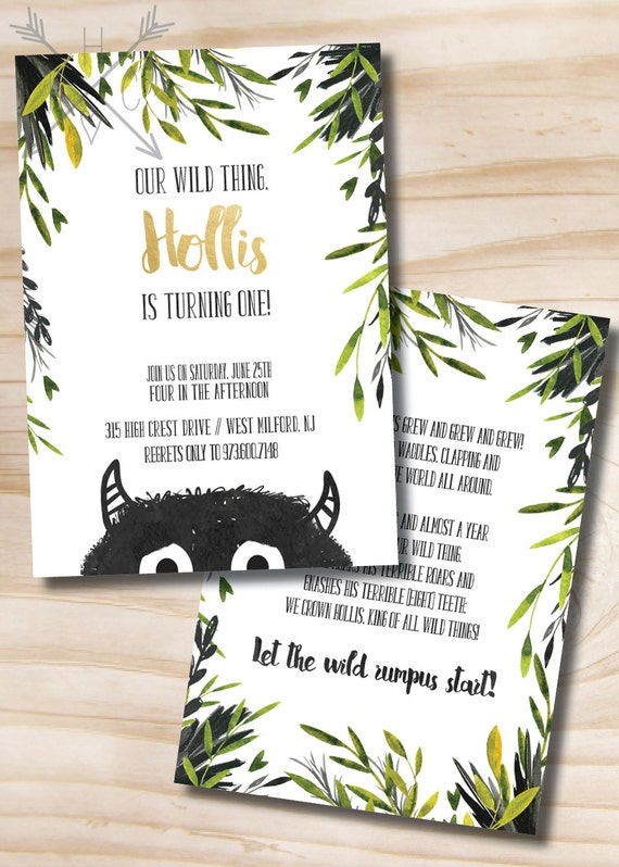 Where the Wild Things Are Birthday Invitation Let the Wild Rumpus