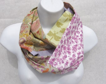 Patchwork Scarf, Cotton Infinity Scarf, Colorful Infinity Scarf, Upcycled,  Boho Infinity,  Cotton Patchwork Scarf, , Patchwork Infinity,