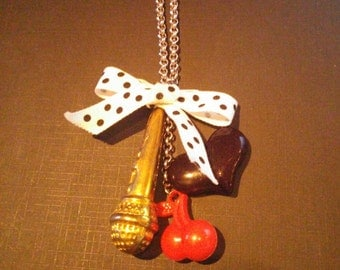 Microphone, Heart, Cherry & Bow Necklace