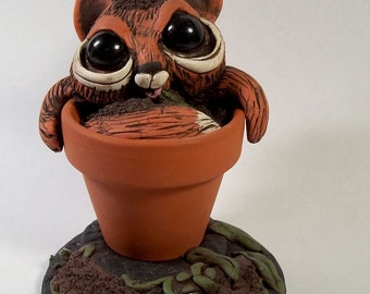 Naughty Norbert Kitty in a Plant Pot,Polymer clay scutlpure,figurine,desk buddy,small cake topper, Covington Creation